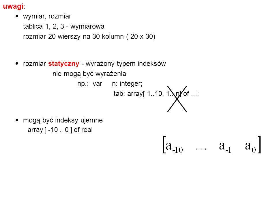 uwagi: wymiar, rozmiar tablica 1, 2, 3 - wymiarowa