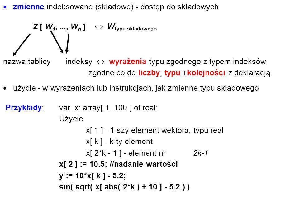 zmienne indeksowane (składowe) - dostęp do składowych