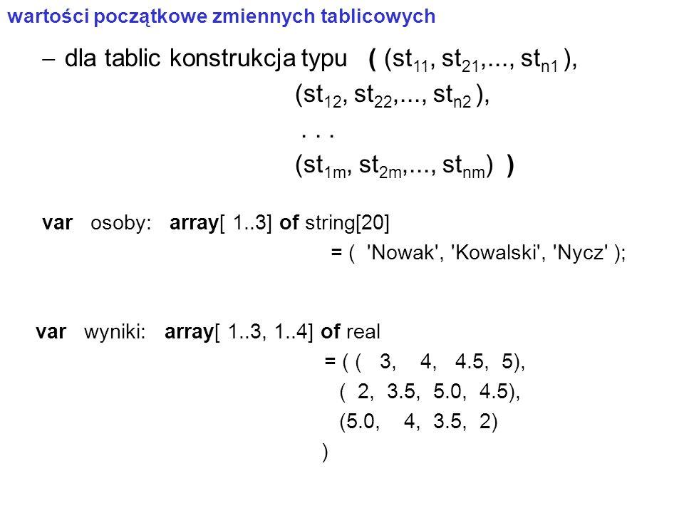 dla tablic konstrukcja typu ( (st11, st21,..., stn1 ),