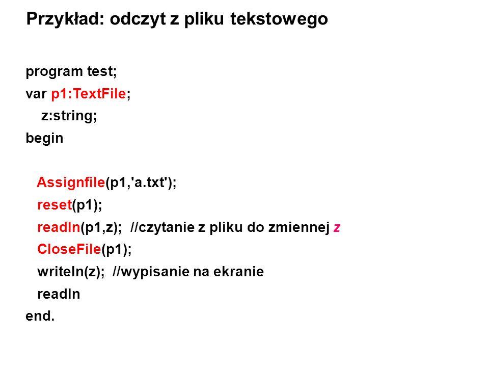 Przykład: odczyt z pliku tekstowego