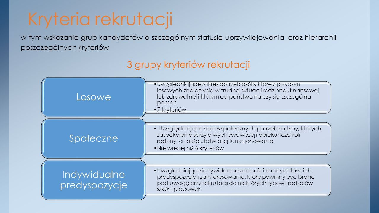 Kryteria rekrutacji 3 grupy kryteriów rekrutacji Losowe Społeczne