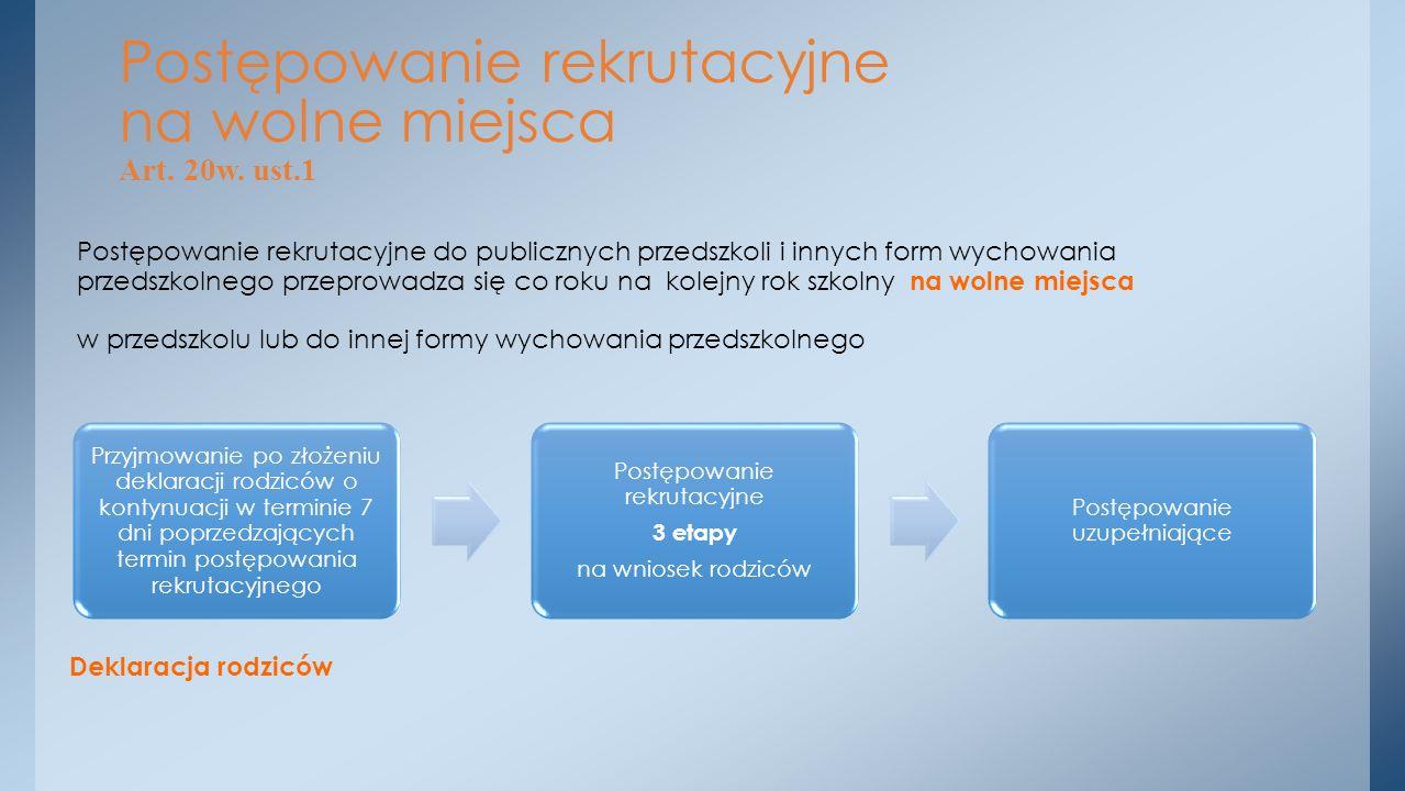 Postępowanie rekrutacyjne na wolne miejsca Art. 20w. ust.1