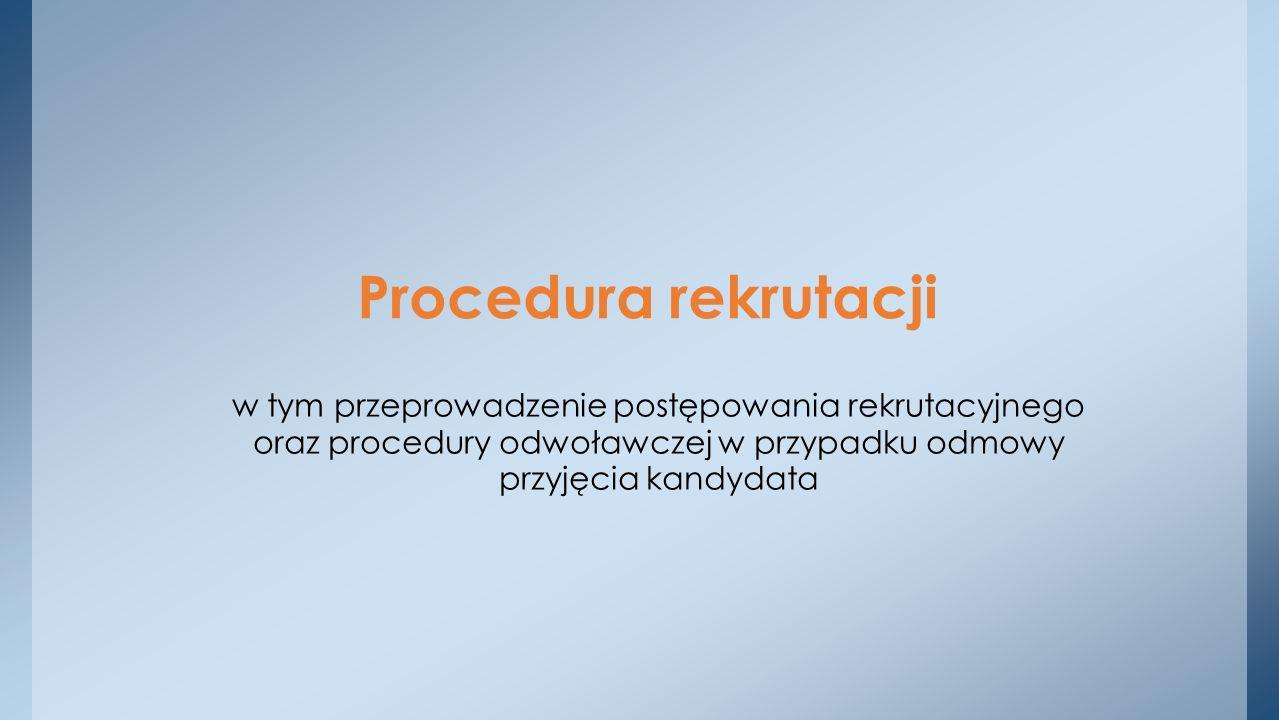 Procedura rekrutacji w tym przeprowadzenie postępowania rekrutacyjnego oraz procedury odwoławczej w przypadku odmowy przyjęcia kandydata.
