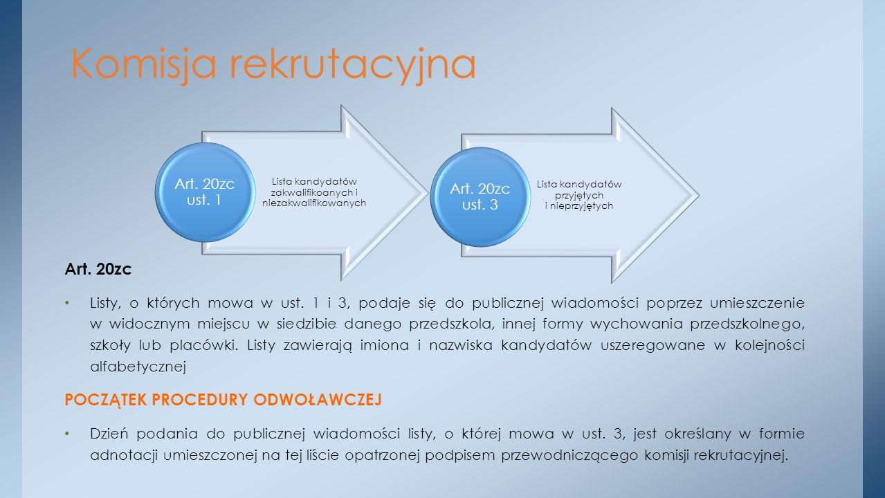 Komisja rekrutacyjna Art. 20zc POCZĄTEK PROCEDURY ODWOŁAWCZEJ