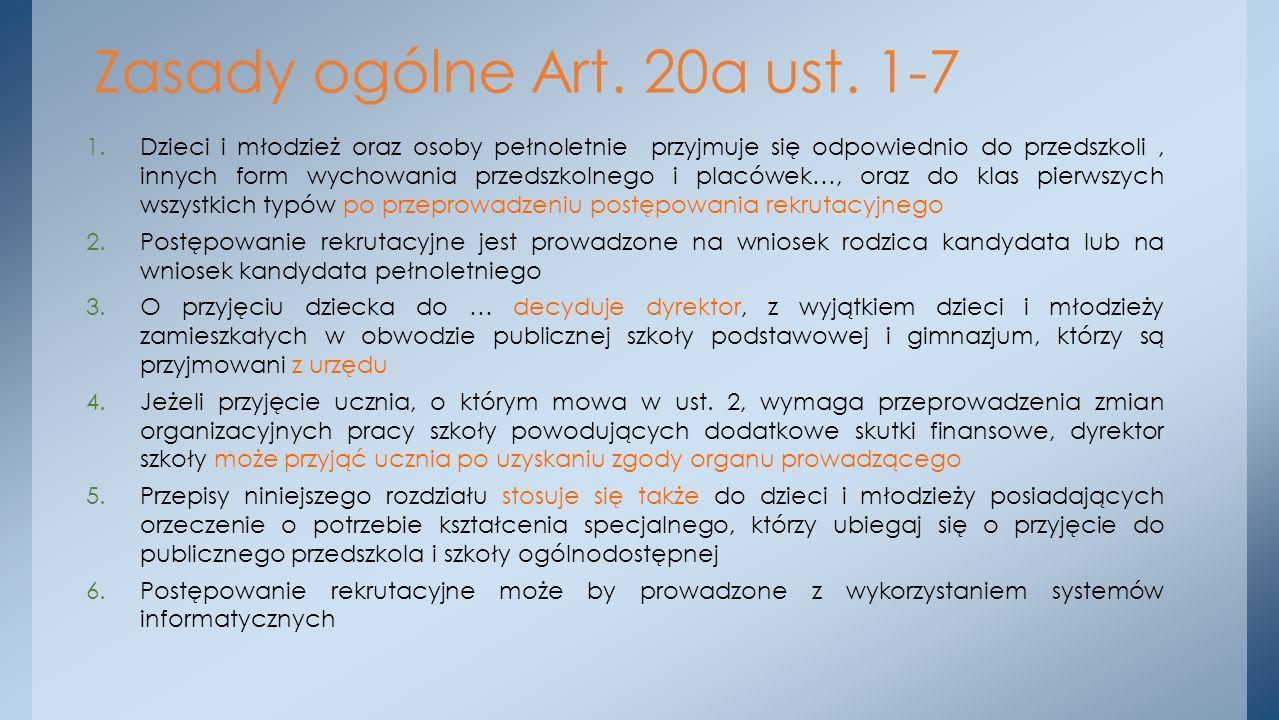 Zasady ogólne Art. 20a ust. 1-7