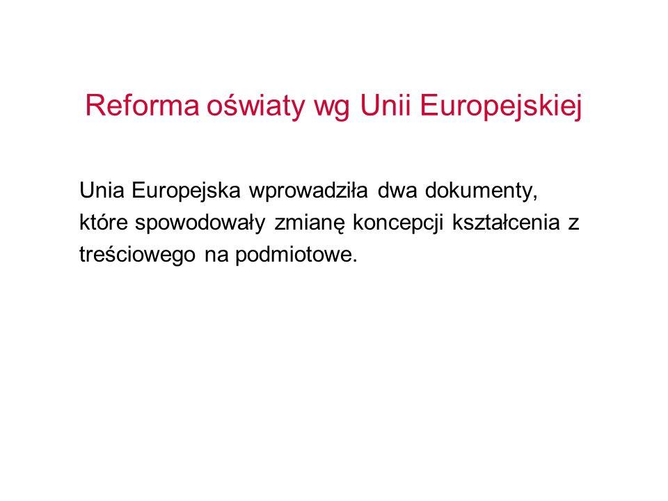 Reforma oświaty wg Unii Europejskiej