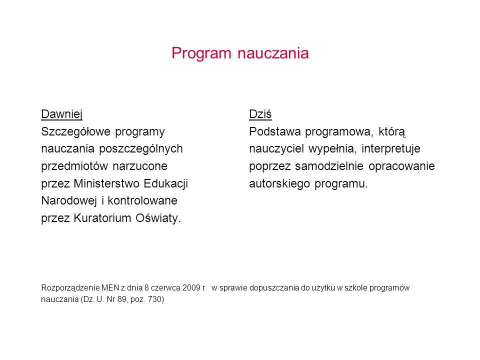 Program nauczania Dawniej Szczegółowe programy