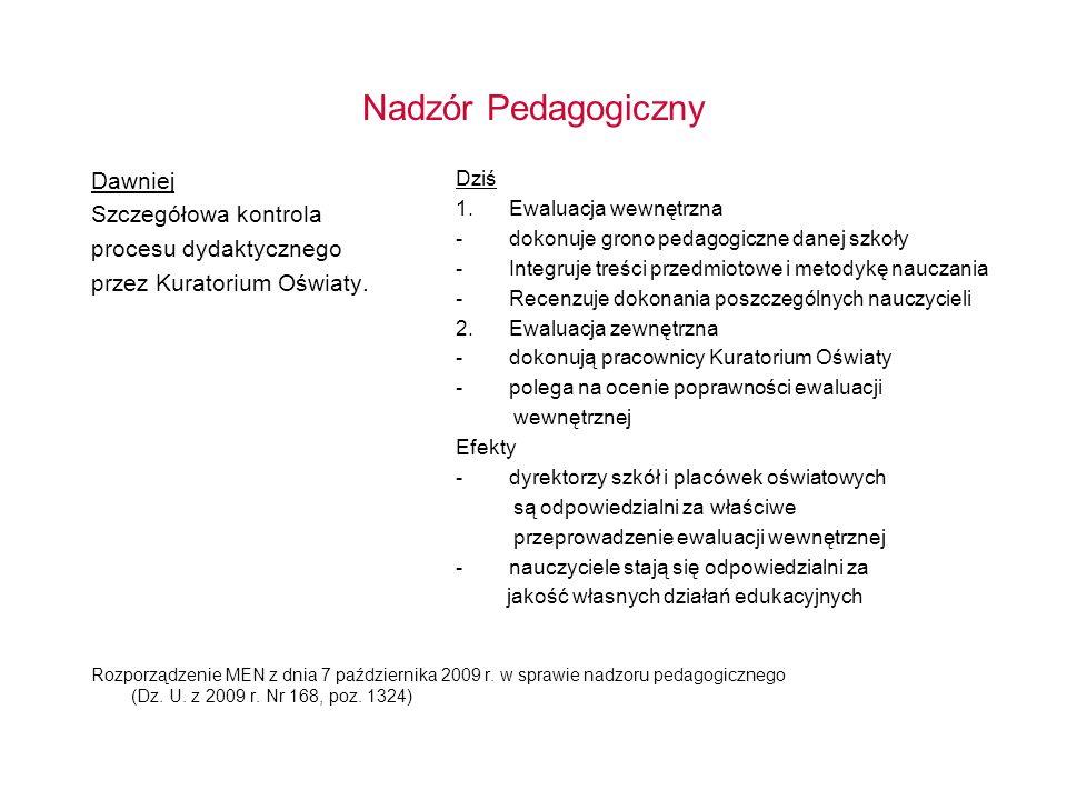 Nadzór Pedagogiczny Dawniej Szczegółowa kontrola procesu dydaktycznego