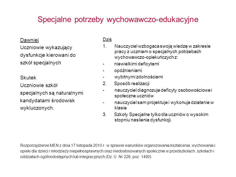 Specjalne potrzeby wychowawczo-edukacyjne