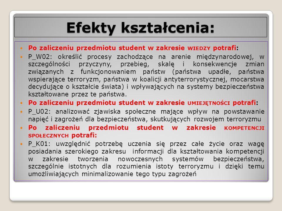 Efekty kształcenia: Po zaliczeniu przedmiotu student w zakresie wiedzy potrafi: