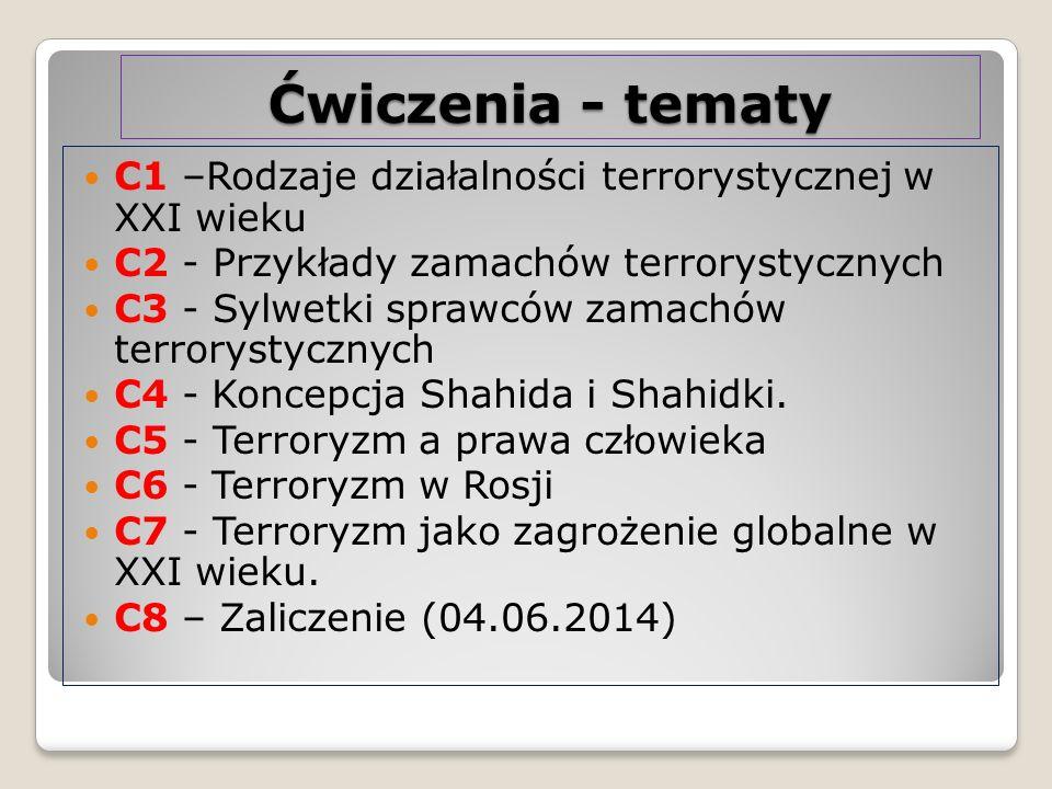Ćwiczenia - tematy C1 –Rodzaje działalności terrorystycznej w XXI wieku. C2 - Przykłady zamachów terrorystycznych.