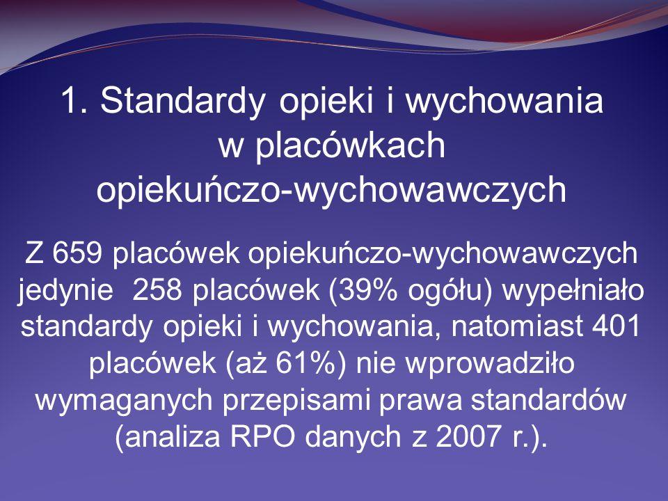 1. Standardy opieki i wychowania w placówkach opiekuńczo-wychowawczych