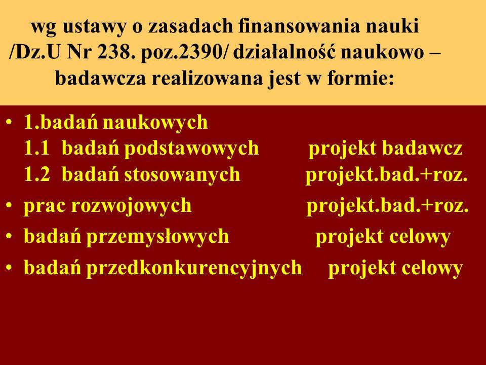 wg ustawy o zasadach finansowania nauki /Dz. U Nr 238. poz