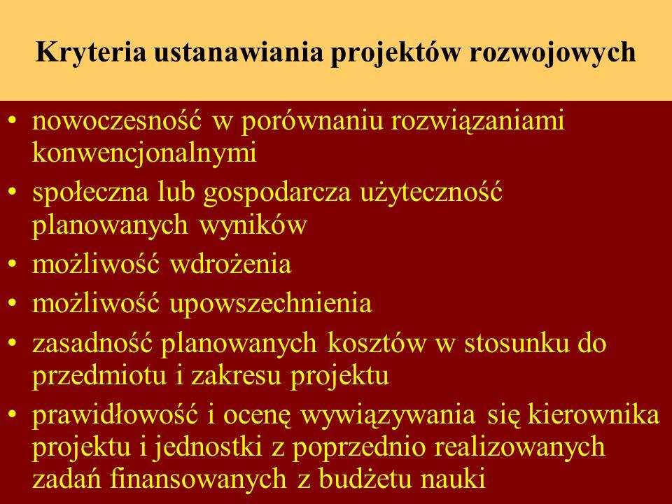 Kryteria ustanawiania projektów rozwojowych