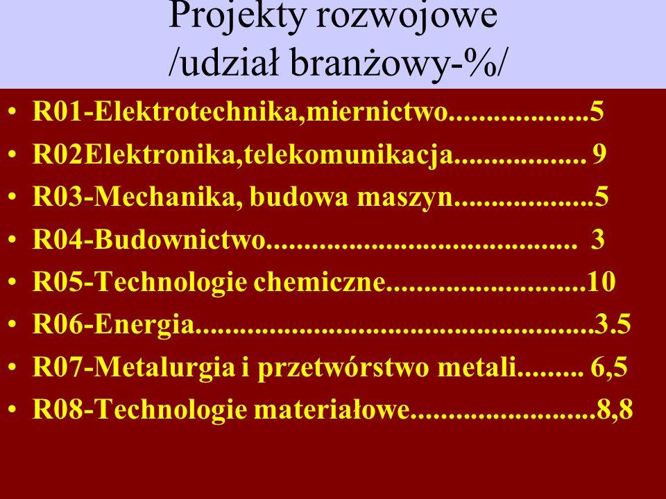 Projekty rozwojowe /udział branżowy-%/