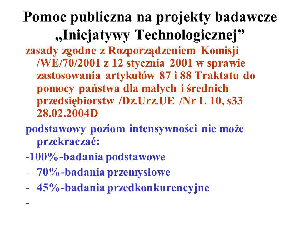 """Pomoc publiczna na projekty badawcze """"Inicjatywy Technologicznej"""