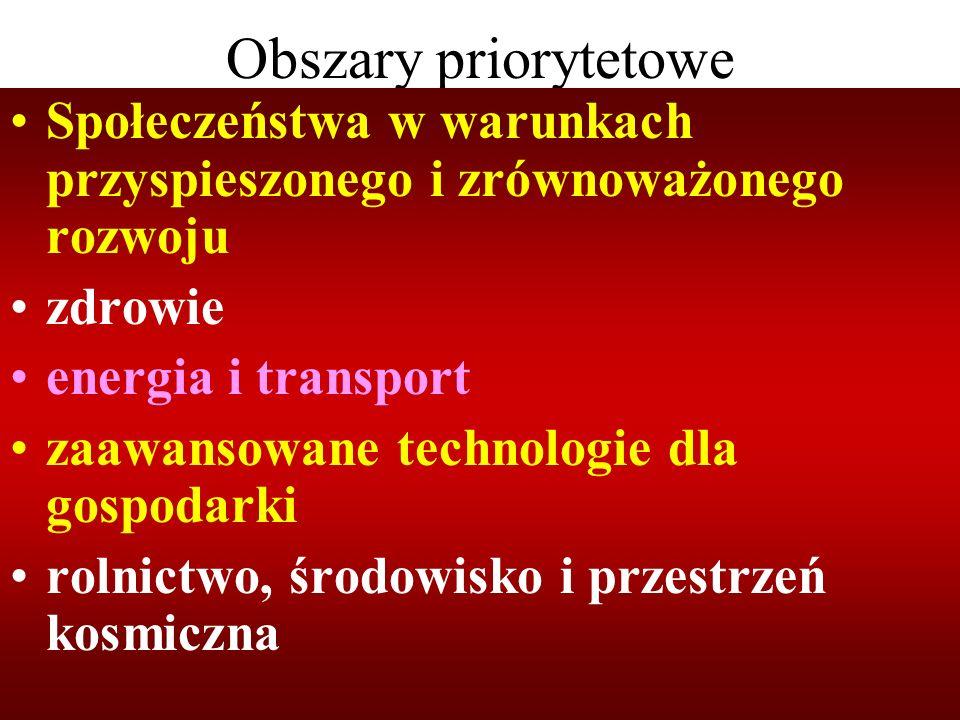 Obszary priorytetowe Społeczeństwa w warunkach przyspieszonego i zrównoważonego rozwoju. zdrowie. energia i transport.