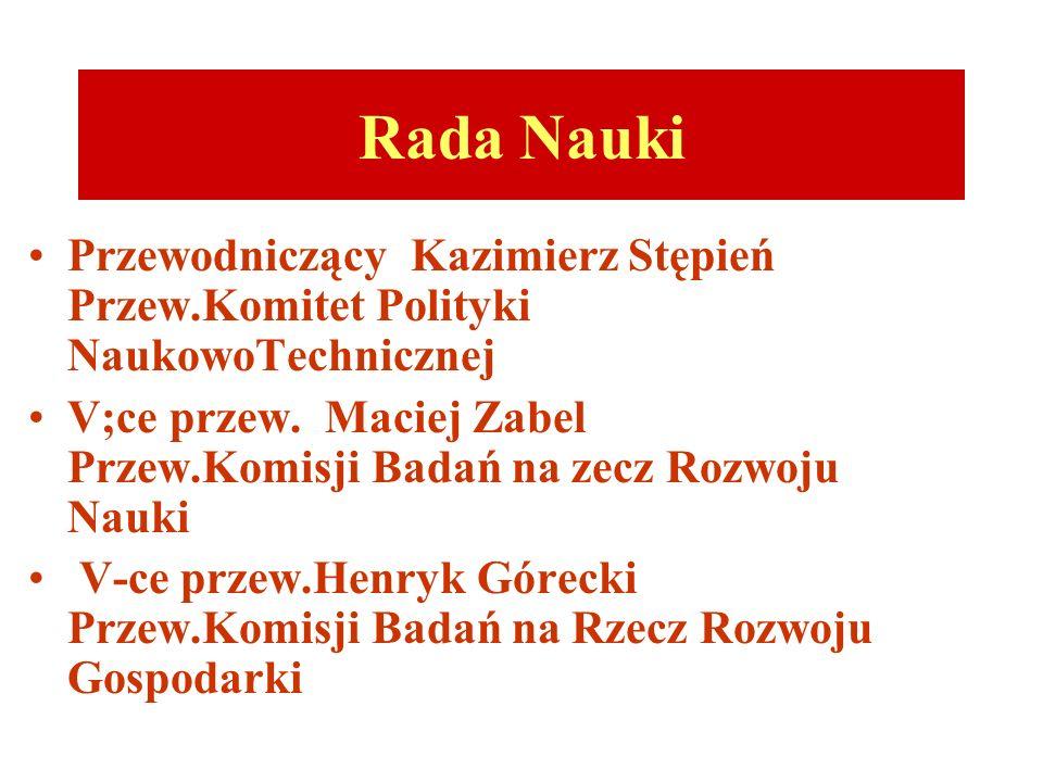 Rada Nauki Przewodniczący Kazimierz Stępień Przew.Komitet Polityki NaukowoTechnicznej.