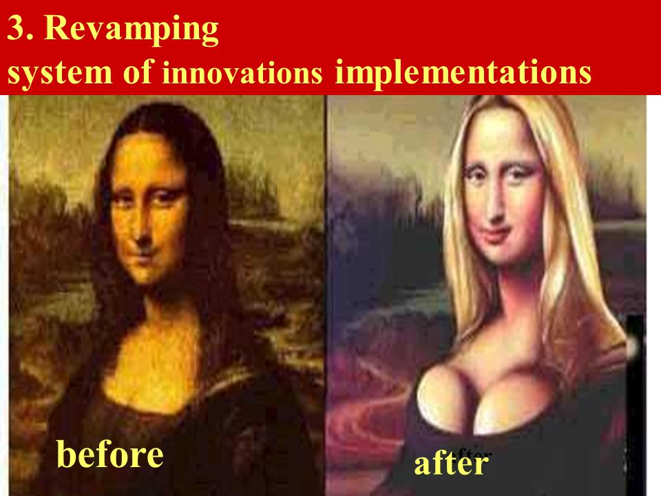before 3. Revamping system of innovations implementations after before