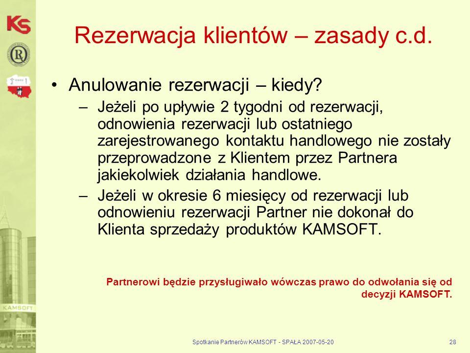 Rezerwacja klientów – zasady c.d.