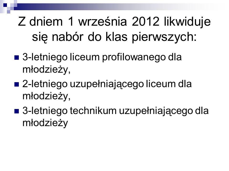 Z dniem 1 września 2012 likwiduje się nabór do klas pierwszych: