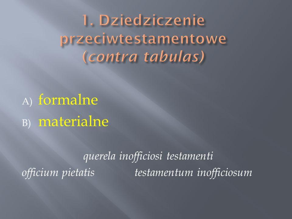 1. Dziedziczenie przeciwtestamentowe (contra tabulas)