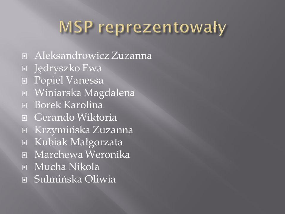 MSP reprezentowały Aleksandrowicz Zuzanna Jędryszko Ewa Popiel Vanessa