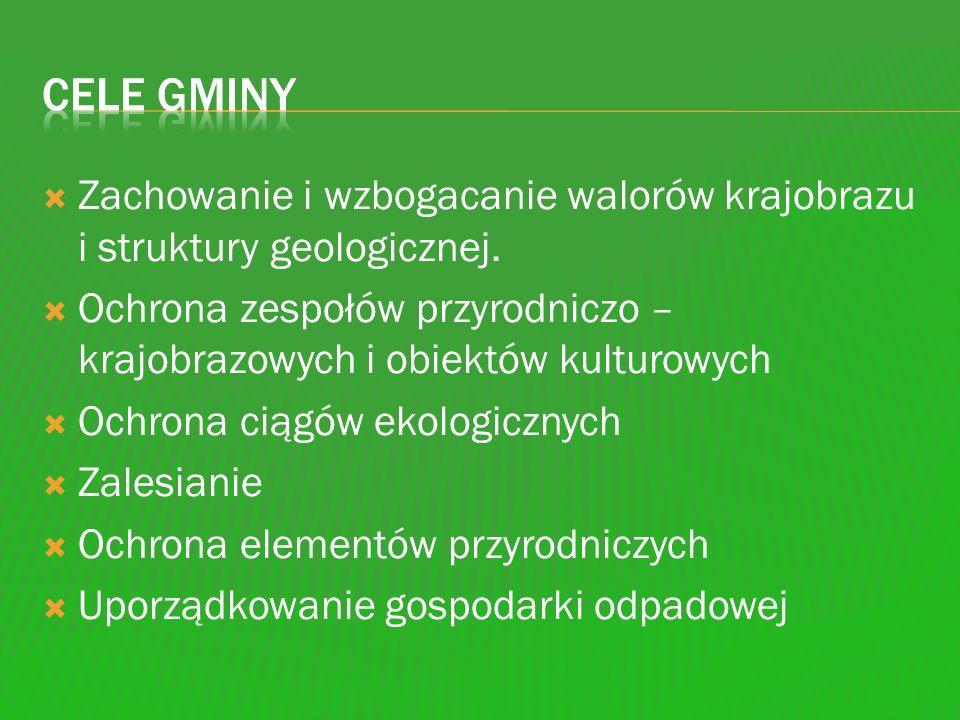 Cele gminy Zachowanie i wzbogacanie walorów krajobrazu i struktury geologicznej.