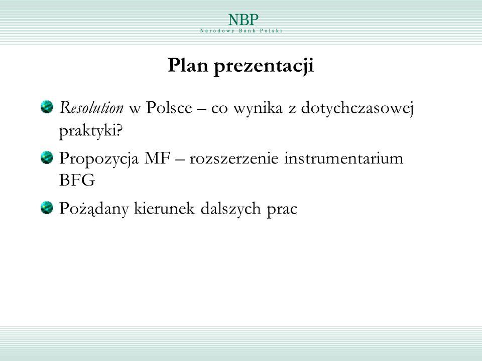 Plan prezentacji Resolution w Polsce – co wynika z dotychczasowej praktyki Propozycja MF – rozszerzenie instrumentarium BFG.
