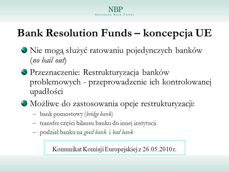 Bank Resolution Funds – koncepcja UE