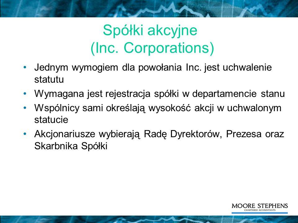 Spółki akcyjne (Inc. Corporations)