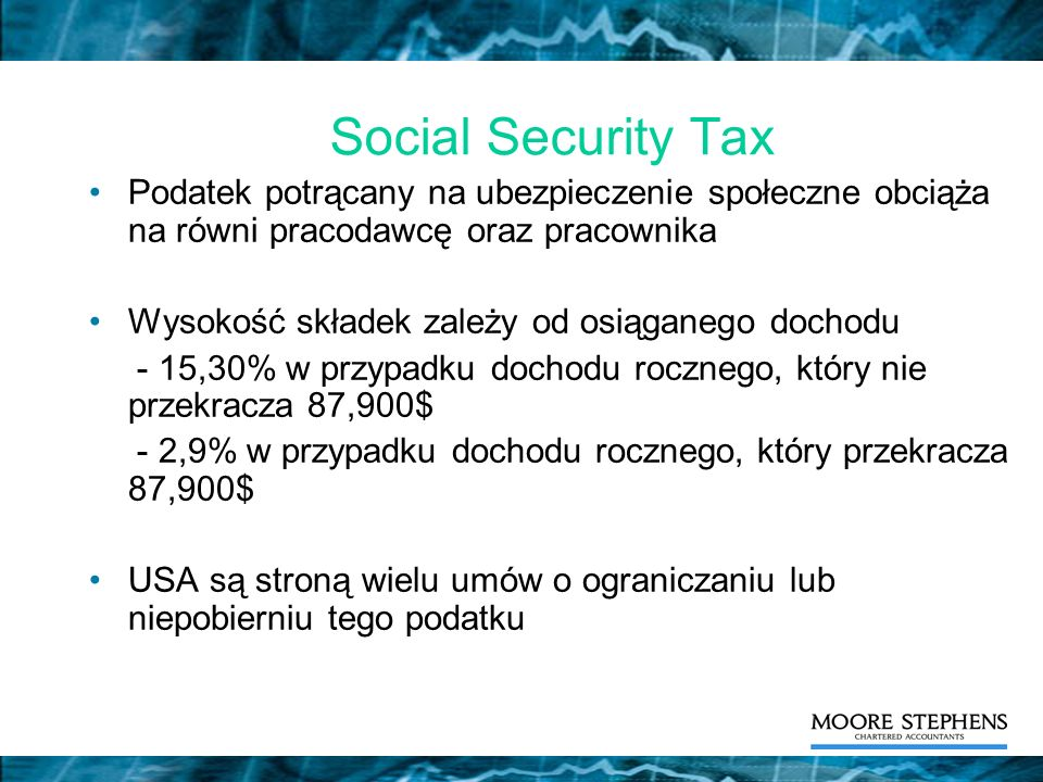 Social Security Tax Podatek potrącany na ubezpieczenie społeczne obciąża na równi pracodawcę oraz pracownika.
