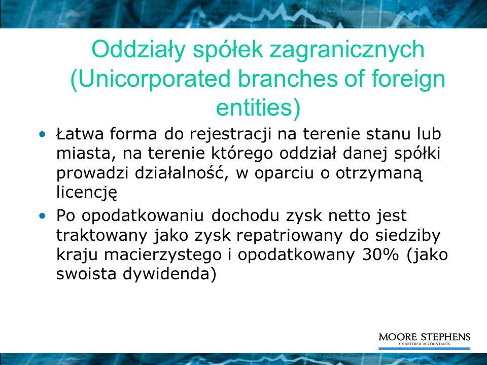 Oddziały spółek zagranicznych (Unicorporated branches of foreign entities)