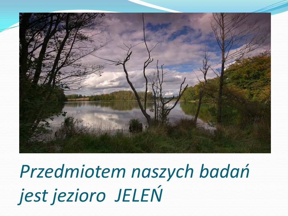 Przedmiotem naszych badań jest jezioro JELEŃ