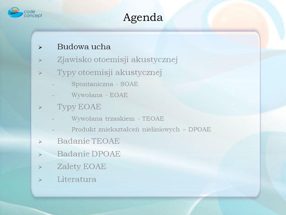 Agenda Budowa ucha Zjawisko otoemisji akustycznej