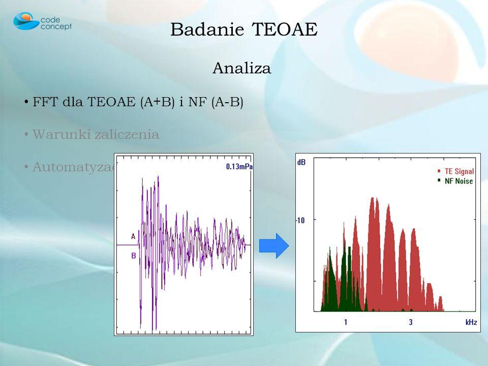 Badanie TEOAE Analiza FFT dla TEOAE (A+B) i NF (A-B)