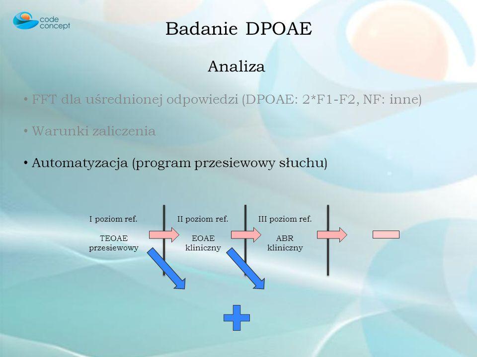 Badanie DPOAE Analiza. FFT dla uśrednionej odpowiedzi (DPOAE: 2*F1-F2, NF: inne) Warunki zaliczenia.