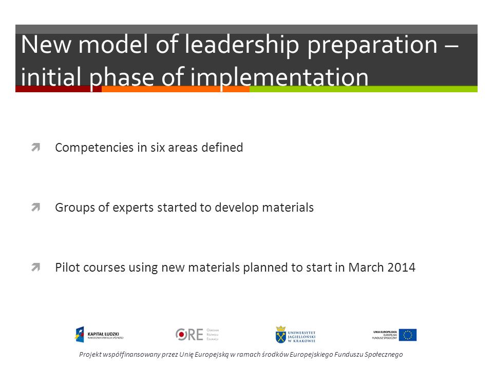 New model of leadership preparation – initial phase of implementation