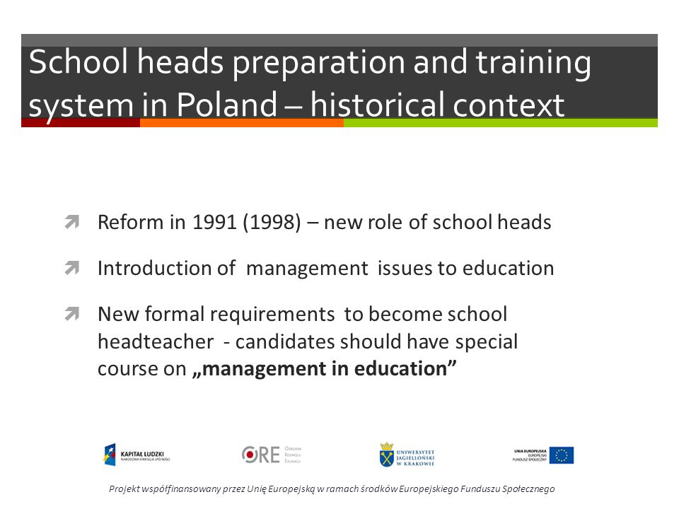 School heads preparation and training system in Poland – historical context