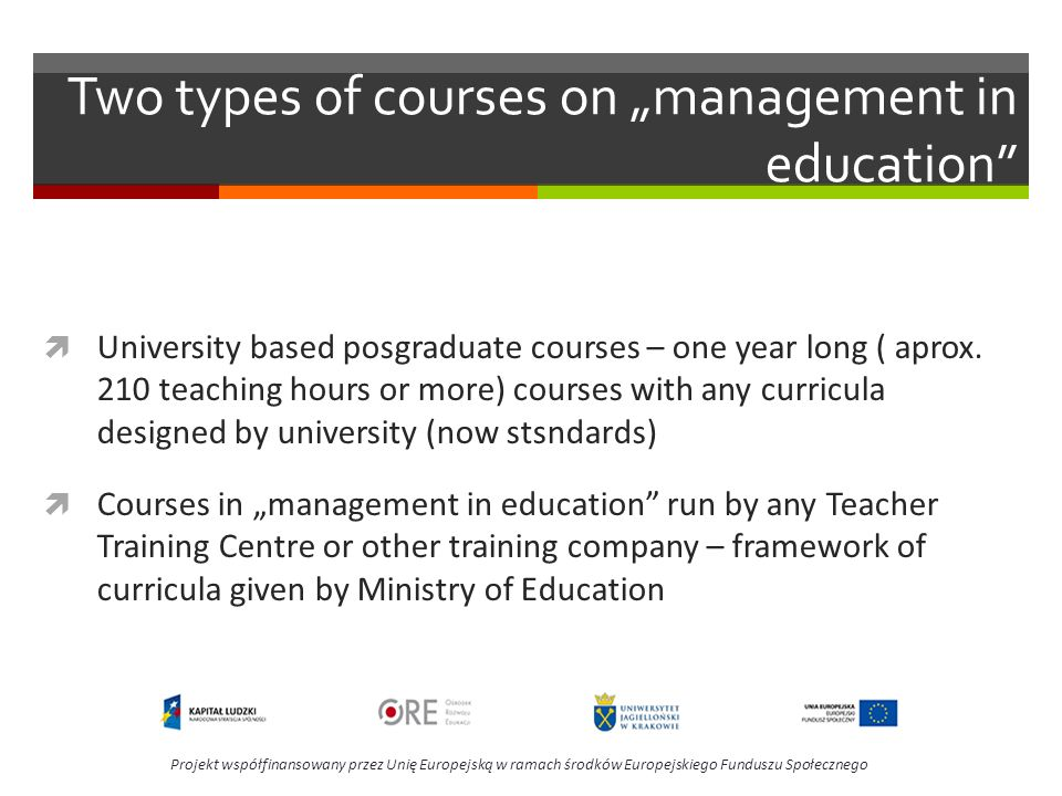 "Two types of courses on ""management in education"