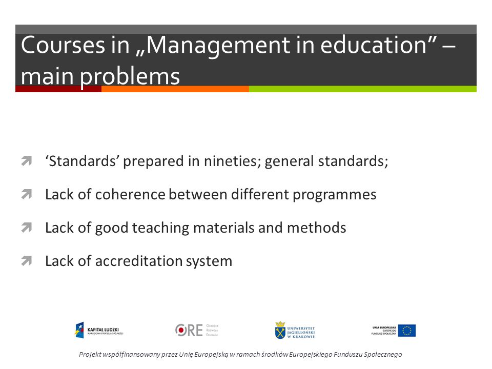 "Courses in ""Management in education – main problems"