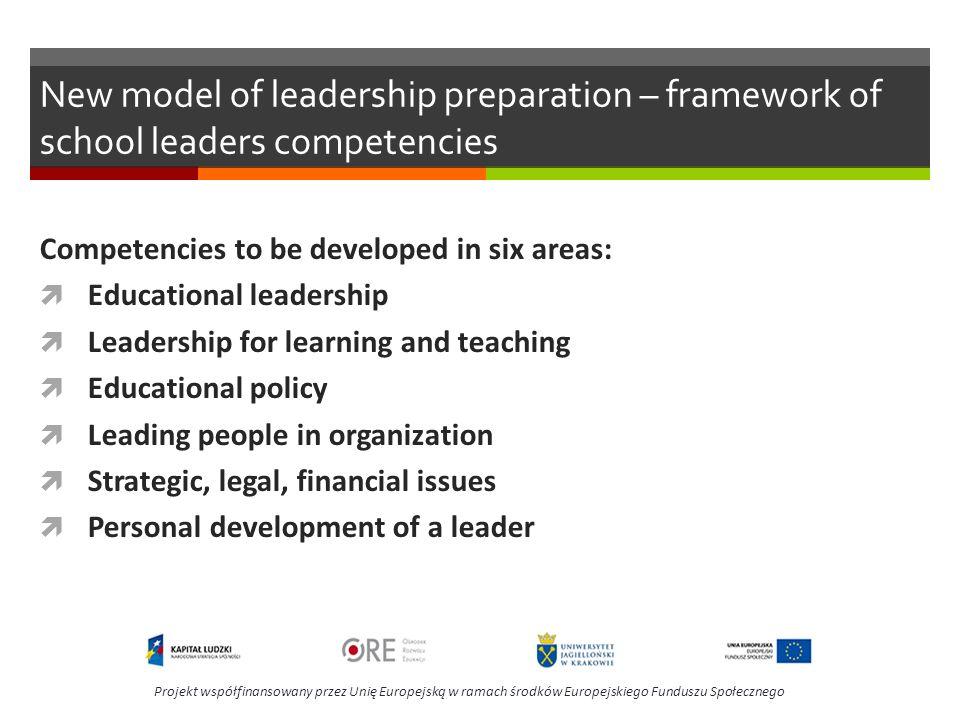 New model of leadership preparation – framework of school leaders competencies