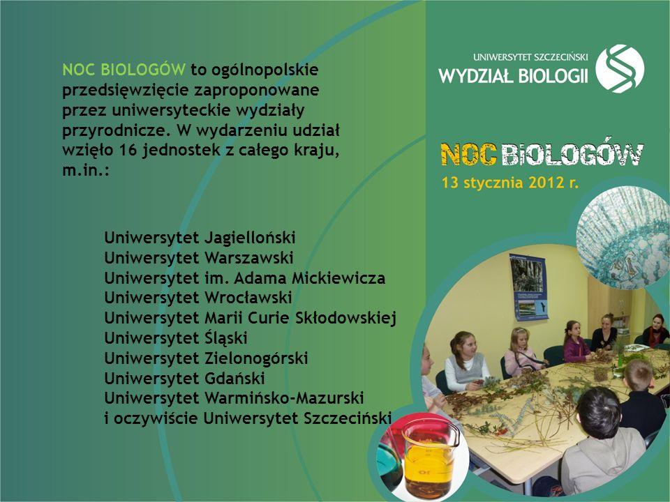 NOC BIOLOGÓW to ogólnopolskie przedsięwzięcie zaproponowane przez uniwersyteckie wydziały przyrodnicze. W wydarzeniu udział wzięło 16 jednostek z całego kraju, m.in.: