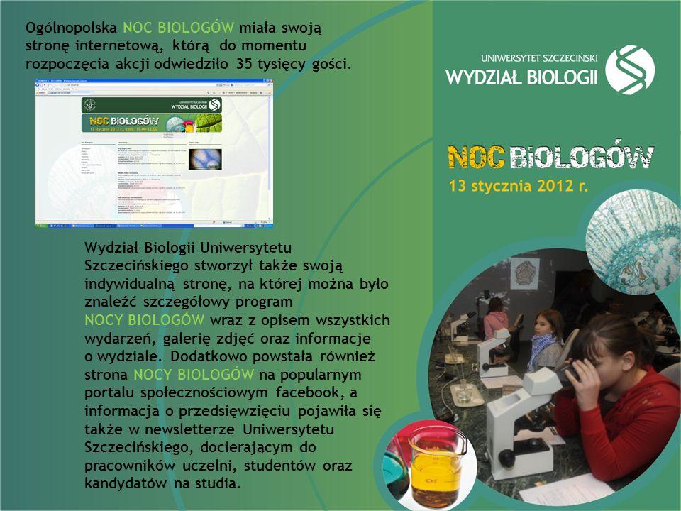 Ogólnopolska NOC BIOLOGÓW miała swoją stronę internetową, którą do momentu rozpoczęcia akcji odwiedziło 35 tysięcy gości.