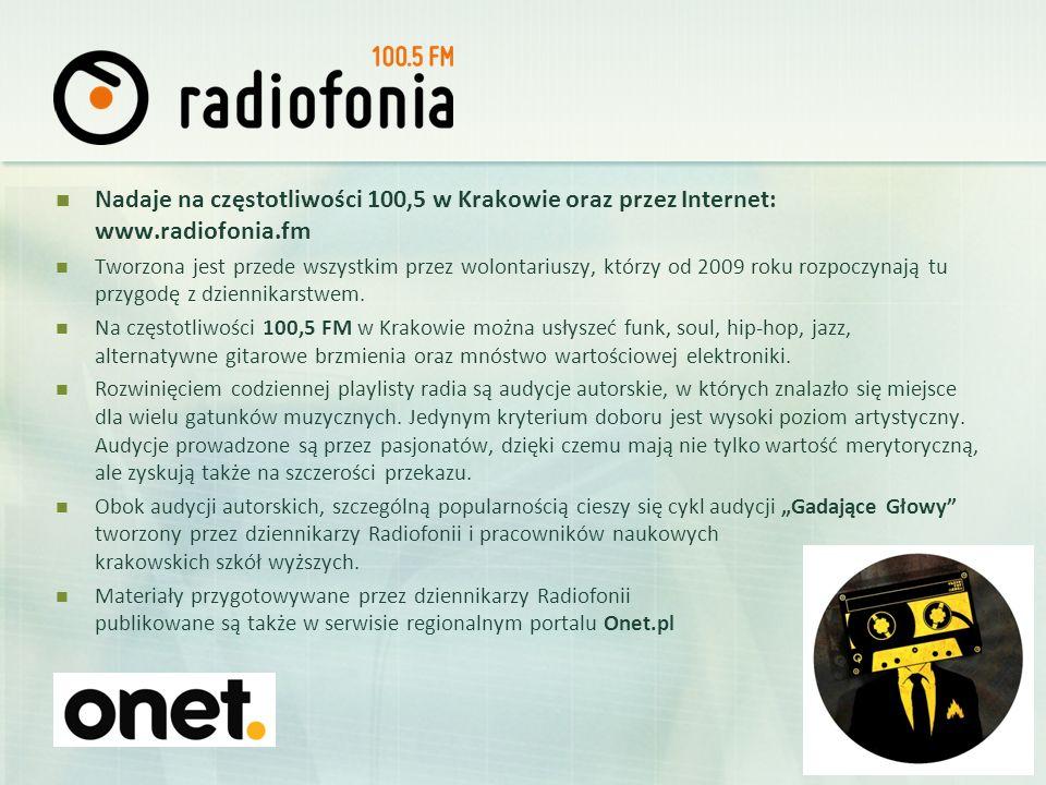 Nadaje na częstotliwości 100,5 w Krakowie oraz przez Internet: www