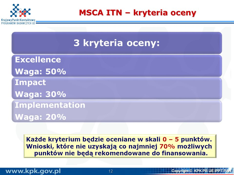 MSCA ITN – kryteria oceny