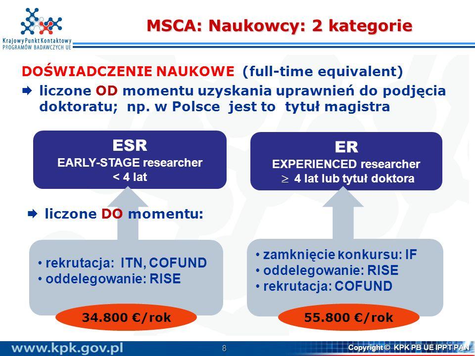 MSCA: Naukowcy: 2 kategorie
