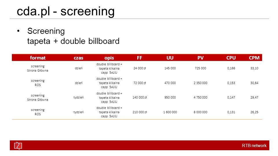 cda.pl - screening Screening tapeta + double billboard format czas
