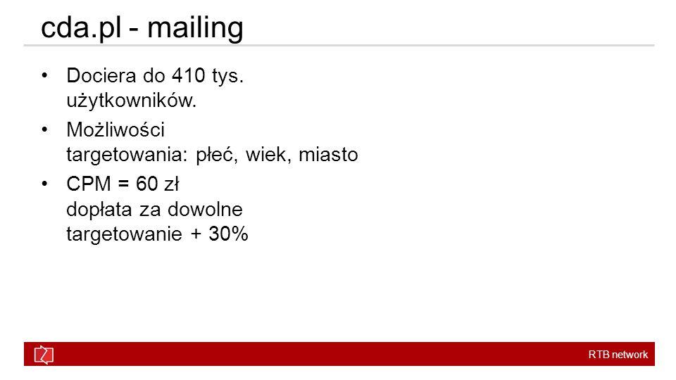cda.pl - mailing Dociera do 410 tys. użytkowników.