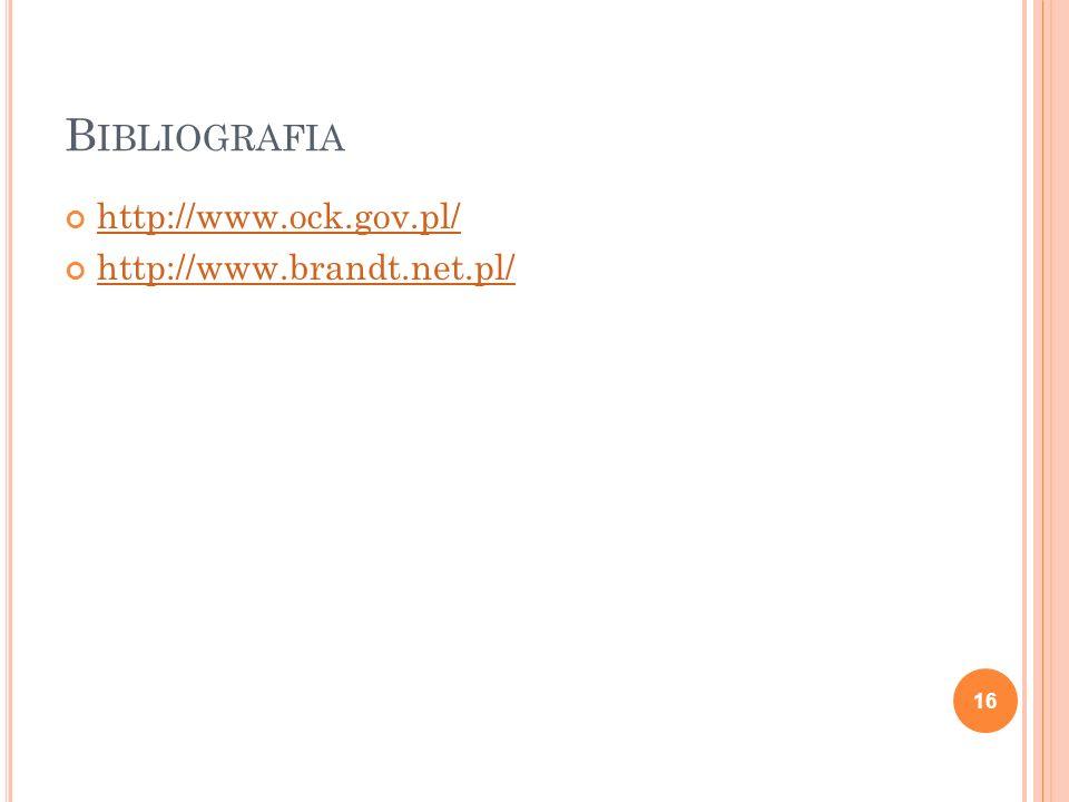 Bibliografia http://www.ock.gov.pl/ http://www.brandt.net.pl/